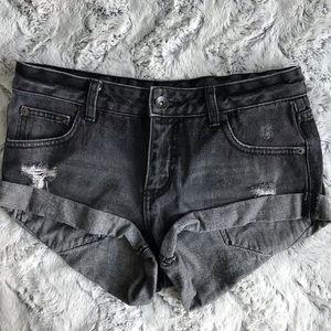 Billabong Washed Black Distressed Denim Shorts 25